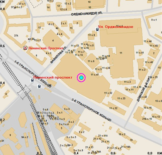 От станции метро ленинский проспект, примерно 5 минут пешком (перейти через ленинский